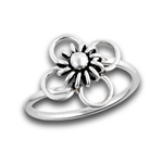 Sterling Silver High Polish And Oxidized Flower Ring