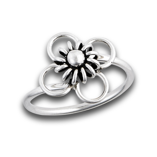 1 Pc 925 Sterling Silver Floral Look Design High Polish Black Oxidize Ring Fancy Ring SOR26 Black Oxidize Ring Fashion Ring