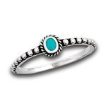 Sterling Silver Beaded And Braided Synthetic Turquoise Ring