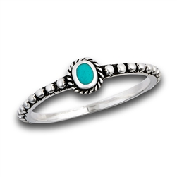 Sterling Silver Beaded And Braided Bali Style Synthetic Turquoise Ring