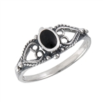 Sterling Silver Ring with Synthetic Black Onyx