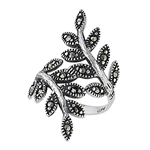 Sterling Silver Leaf Ring with Marcasite