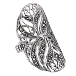 Sterling Silver Oval Filigree Ring with Marcasite
