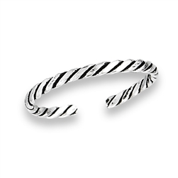 Sterling Silver Thin Rope Toe Ring
