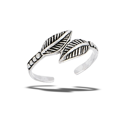 Sterling Silver Double Leaves Toe Ring