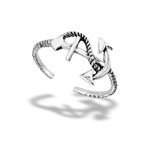 Sterling Silver Anchor With Line Toe Ring