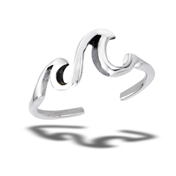 Sterling Silver Double Crashing Waves Toe Ring