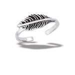 Sterling Silver Feather Toe Ring