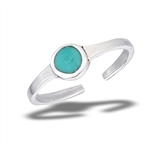 Sterling Silver Toe Ring With Synthetic Turquoise