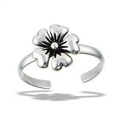 Sterling Silver Oxidized Flower Toe Ring