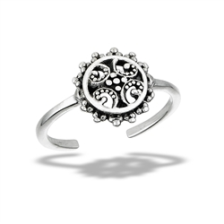 Sterling Silver Granulated Sunburst Toe Ring