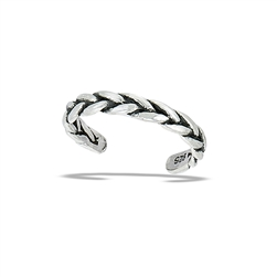 Sterling Silver Oxidized Weave Toe Ring