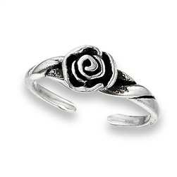 Sterling Silver Rose Toe Ring