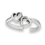 Sterling Silver Loving Hearts Toe Ring