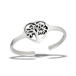 Sterling Silver Tree Of Life In Heart Toe Ring