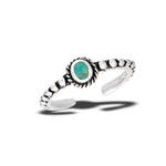 Sterling Silver Bali Style Toe Ring With Synthetic Turquoise