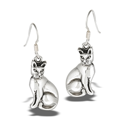 Sterling Silver Comfortable Cat Earring