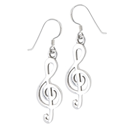 Sterling Silver Clef Note Earring