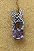 Sterling Silver Marcasite Post Earring With Synthetic Amethyst