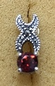 Sterling Silver Marcasite Post Earring With Synthetic Garnet