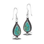 Sterling Silver Classic Bali Style Granulated Dangle Earring With Synthetic Turquoise