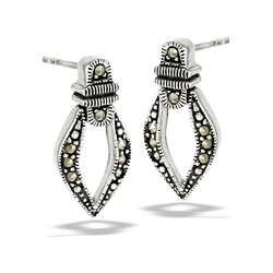 Sterling Silver Hinged (Moves) Marcasite Post Earring