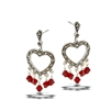 Sterling Silver Victorian Heart Earring With Marcasite And Red Crystal