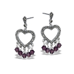 Sterling Silver Victorian Heart Earring With Marcasite And Purple Crystal
