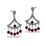 Sterling Silver Classic Victorian Dangle Earring With Marcasite And Red Crystal