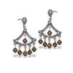 Sterling Silver Classic Victorian Dangle Earring With Marcasite And Tan Crystal