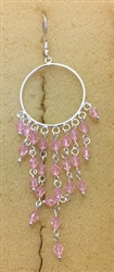 Sterling Silver Circle Earring With Cascading Pink Crystals