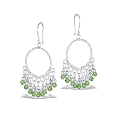 Sterling Silver Classic Dangle Earring With Light Green Crystal