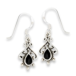Sterling Silver Bali Style Earring With Synthetic Black Onyx