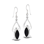 Sterling Silver Heavy Classic Dangle Earring With Synthetic Black Onyx