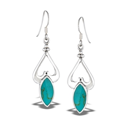 Sterling Silver Heavy Classic Dangle Earring With Synthetic Turquoise