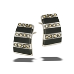 Sterling Silver Post Earring With Synthetic Black Onyx And Marcasite