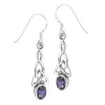Sterling Silver Celtic Earring with Synthetic Amethyst