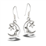 Sterling Silver Moon And Star Dangle Earring