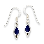 Sterling Silver Bali Style Earring With Synthetic Lapis