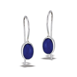 Sterling Silver Oval Dangle Earring With Synthetic Lapis