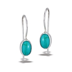 Sterling Silver Oval Dangle Earring With Synthetic Turquoise