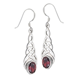 Sterling Silver Celtic Earring with Synthetic Garnet
