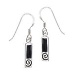 Sterling Silver Earring with Synthetic Black Onyx