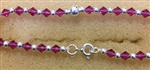 Sterling Silver Bead And Pink Crystal Bracelet