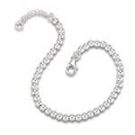 Sterling Silver 4 mm Bead Bracelet With One Inch Extension