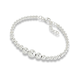Sterling Silver Graduated Bead Bracelet With One Inch Extension