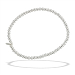 Sterling Silver 7.25 Inch 2 mm Bead Stretchy Bracelet