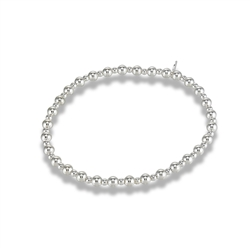 Sterling Silver 7.25 Inch Alternating 2 mm And 4 mm Bead Stretchy Bracelet