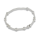 Sterling Silver 7.25 Inch Random 2 mm And 5 mm Bead Stretchy Bracelet