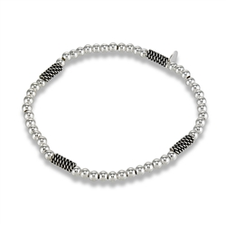 Sterling Silver 7.25 Inch 4 mm Bead And Bali Rope Stretchy Bracelet